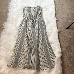 Elan Gray And White Cover Up Romper